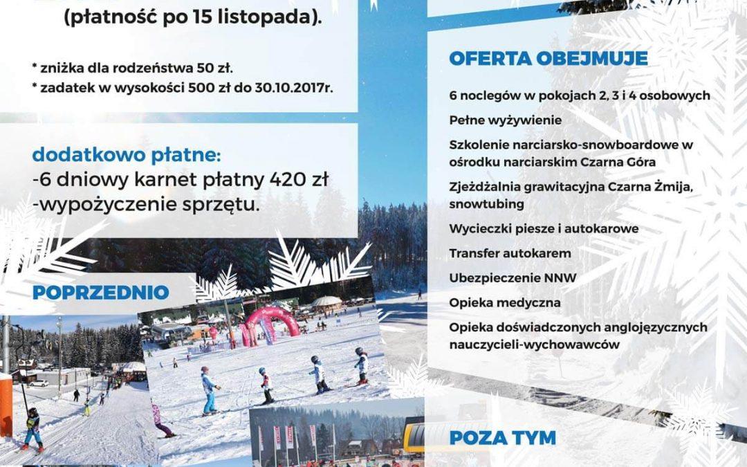 FERIE 2018 OBÓZ NARCIARSKO-SNOWBOARDOWY Kotlina Kłodzka 27.01.2018- 02.02.2018r.