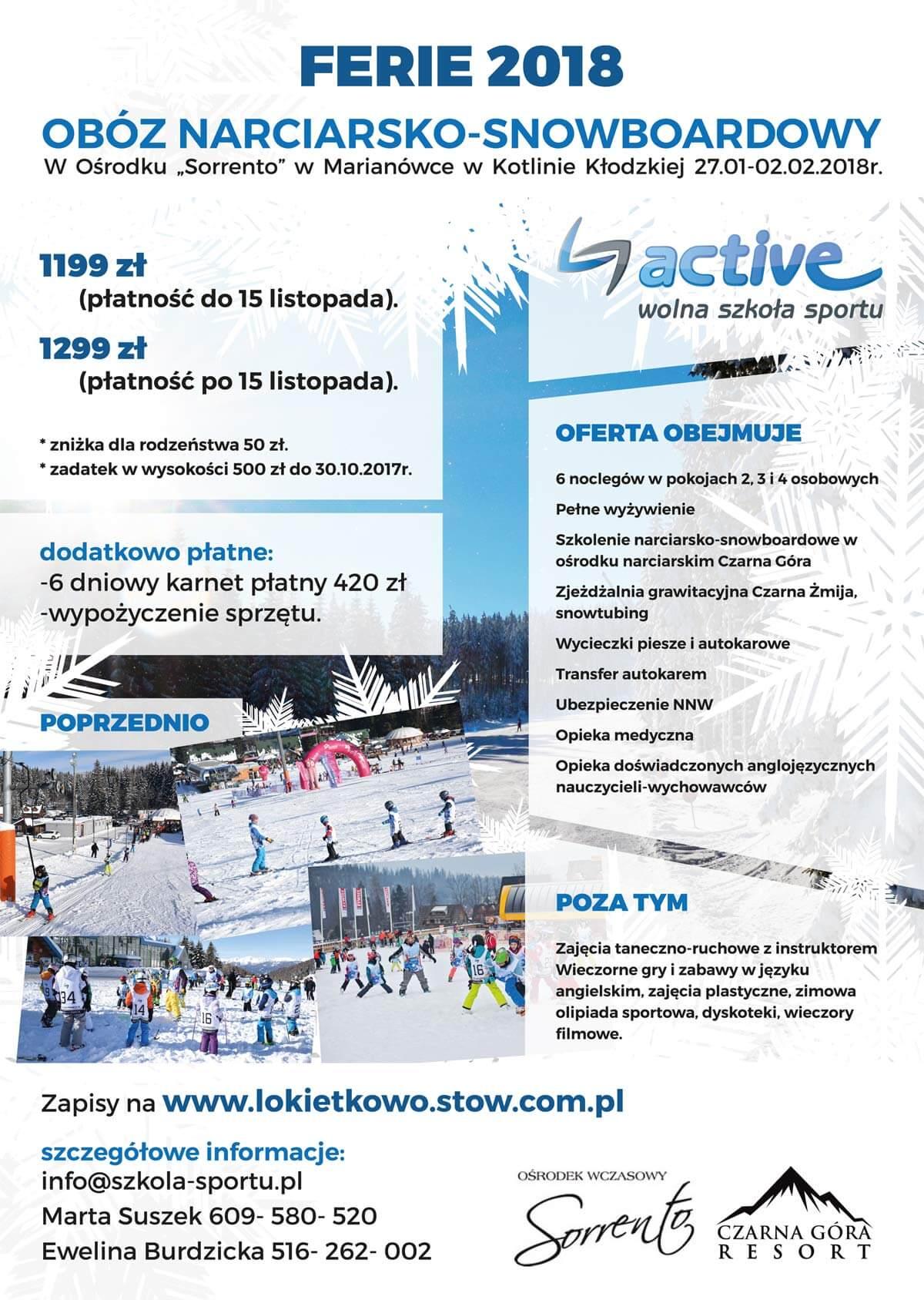 Ferie 2018 Obóz Narciarsko-Snowboardowy